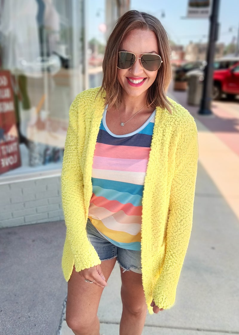 Popcorn Sweater-Bright Yellow