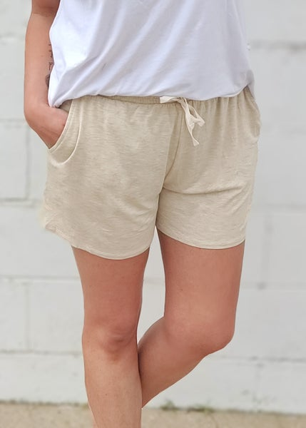 Oatmeal Smocked Waist Shorts