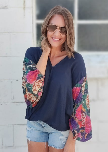 Navy Floral Long Sleeve Puff Top
