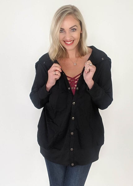 Lucy Black Button Jacket