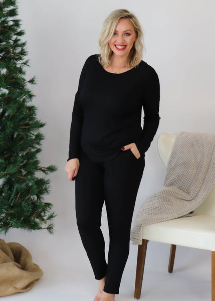DOORBUSTER-Slouchy Loungewear Set: Black *Final Sale*
