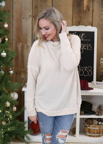 DOORBUSTER -Brianna Natural Mock Neck Sweater *Final Sale*