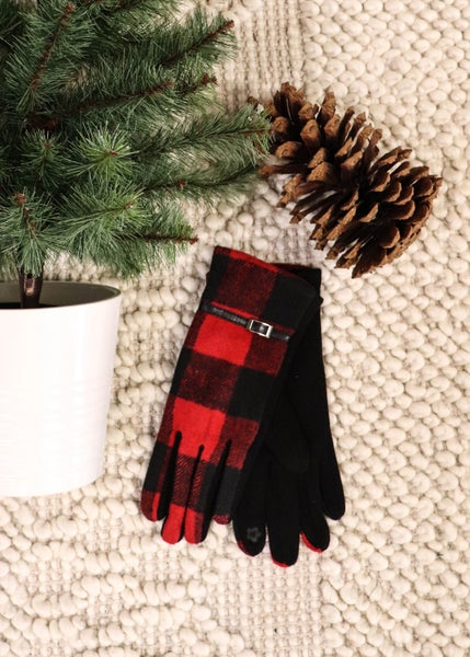 DOOR BUSTER: Smart Touch Gloves: Red Plaid *Final Sale*