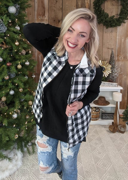 Buffalo Plaid Sherpa Vest