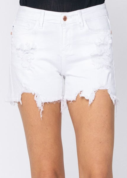 Carla White Shark Bite Judy Blue Shorts