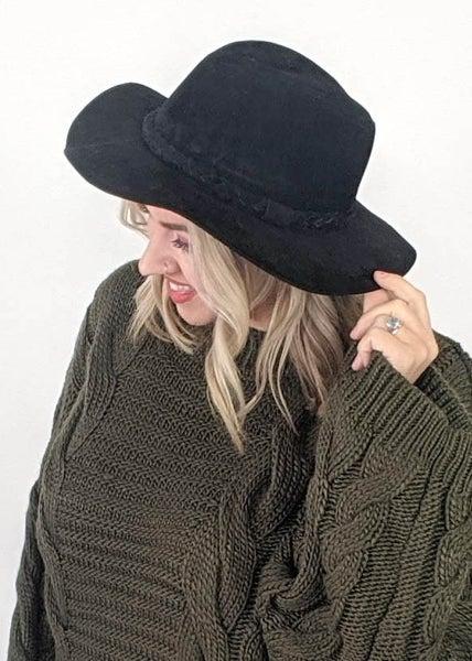 Straight Brim Braided Hat -  Black