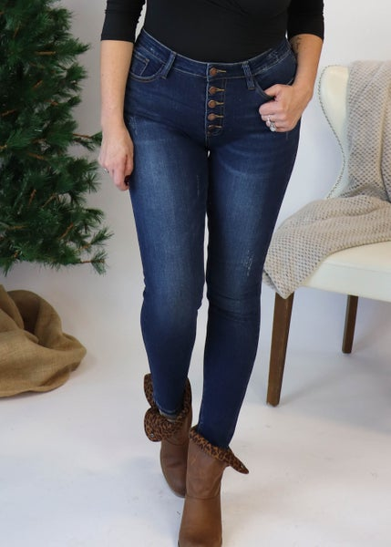 Judy Blue Dark Wash Non-Distressed  Button Fly Skinny