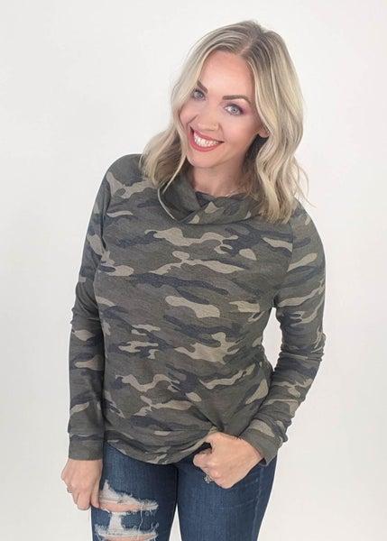Carolyn Camo Long Sleeved Sweater