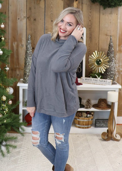 DOORBUSTER - Brianna Charcoal Mock Neck Sweater  *Final Sale*