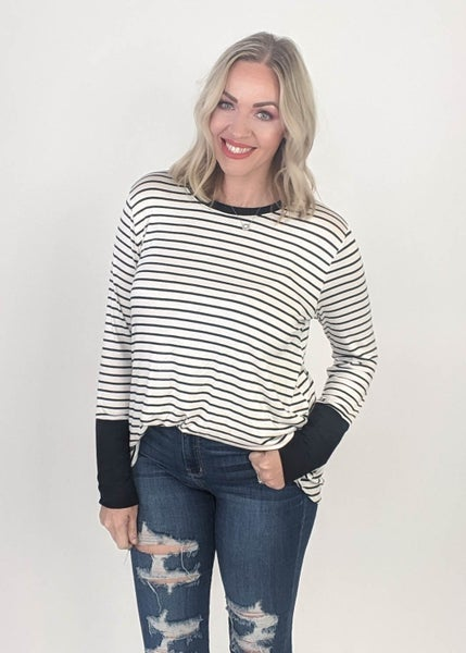 Tyler Ivory & Black Stripe Long Sleeve