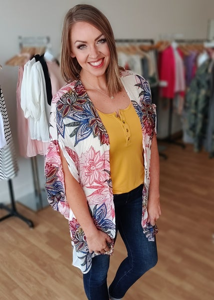 Vanessa Ivory Floral Burst Kimono