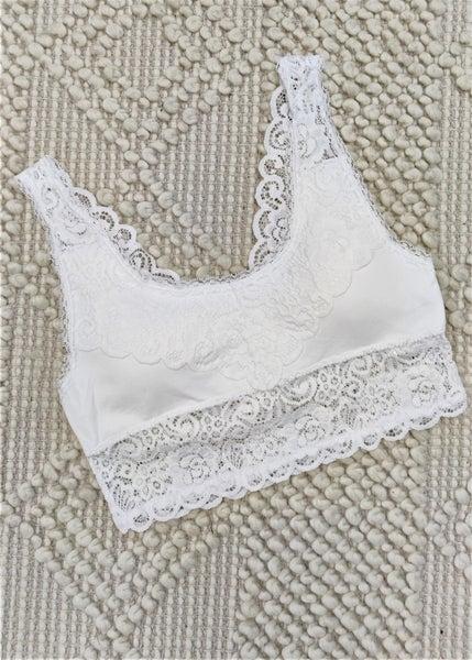 Seamless Stretch Lace Bra-White