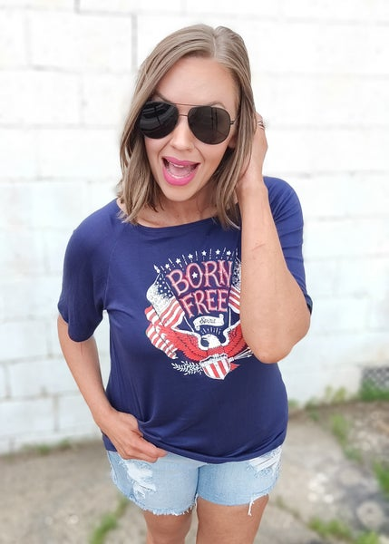 Born Free Graphic Off Shoulder Tee