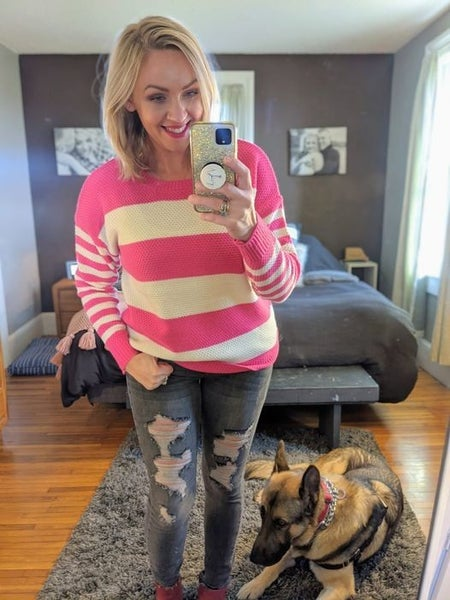 Holiday DEAL-Pink & Ivory Striped Sweater *Final Sale*