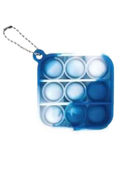 Fidget Popper Keychain- Blue Tie Dye