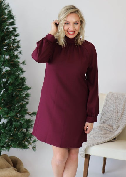 DOORBUSTER:Wine High Neck Dress *Final Sale*