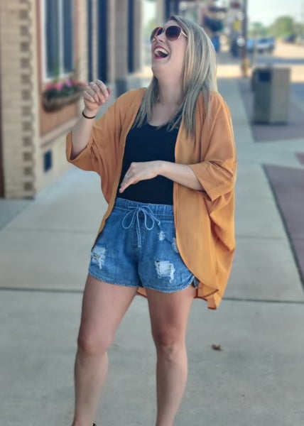 Riley Distressed Drawstring Denim Shorts