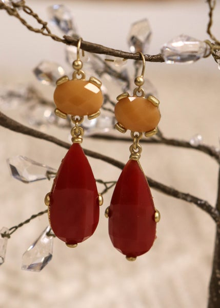 Red & Peach Drop Earring *Final Sale*