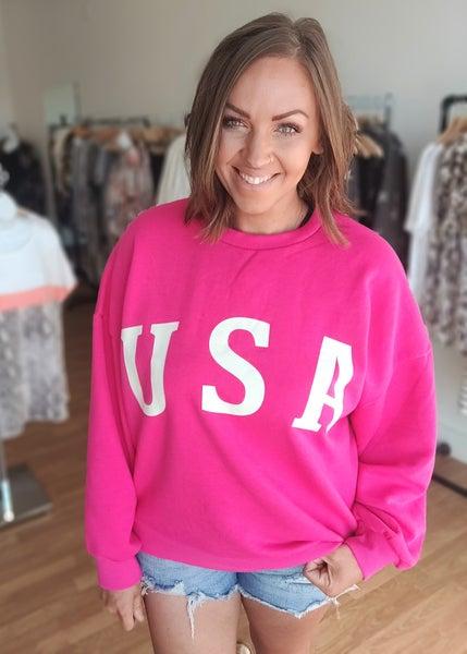 Hot Pink USA Crew Neck Sweatshirt