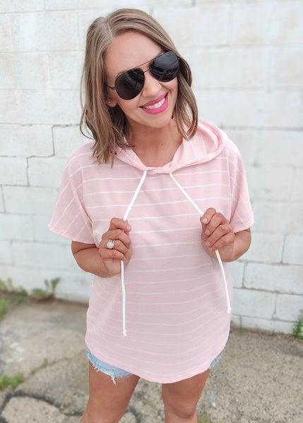 Miles Pink Striped Thermal Hoodie Top