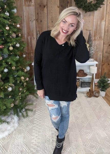 Harper V Neck Relaxed Sweater: Black