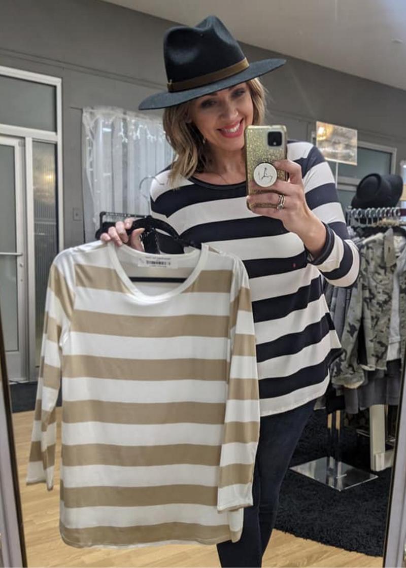 Emma Striped Top: Taupe *Final Sale*