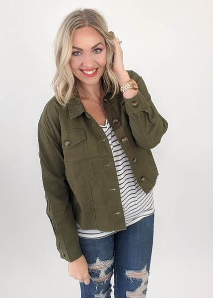 Olive Cropped Fall Jacket