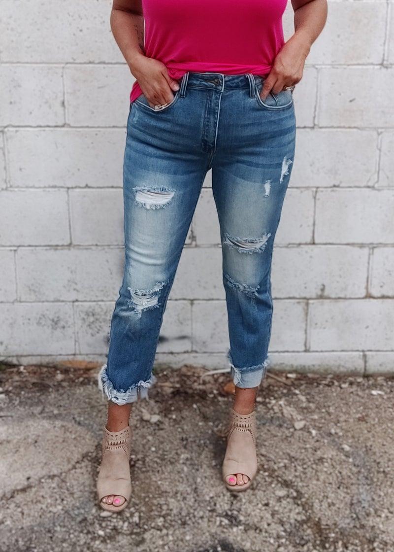 Khloe Light Wash Distresssed Straight Leg Jean