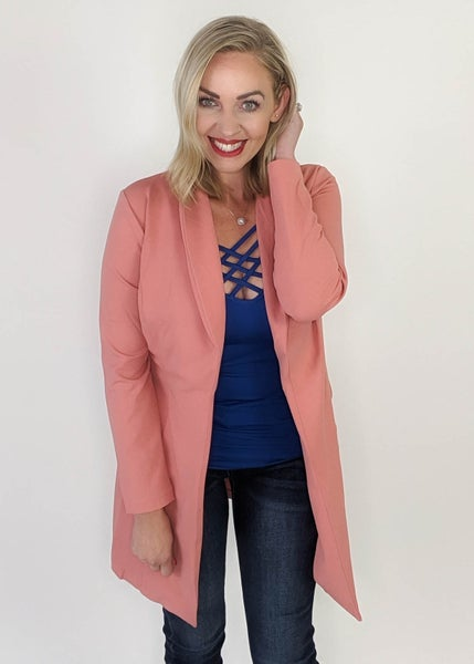 Timeless Long Blazer: Mauve