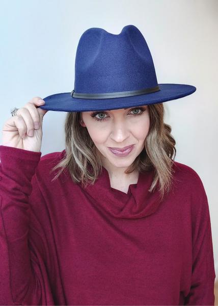 Navy Flat Brim Hat *Final Sale*