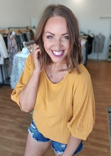 Zoey Mustard Crinkle Top