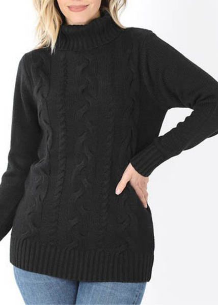 DOORBUSTER Black Cable Knit Turtleneck