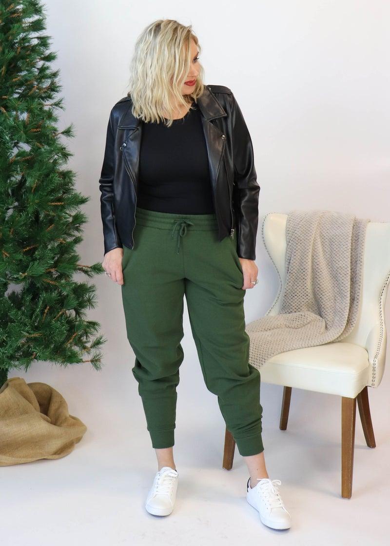Fleece Joggers: Army Green