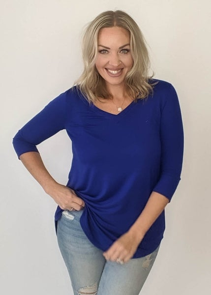 Best Top Ever 3/4 Sleeve - Cobalt