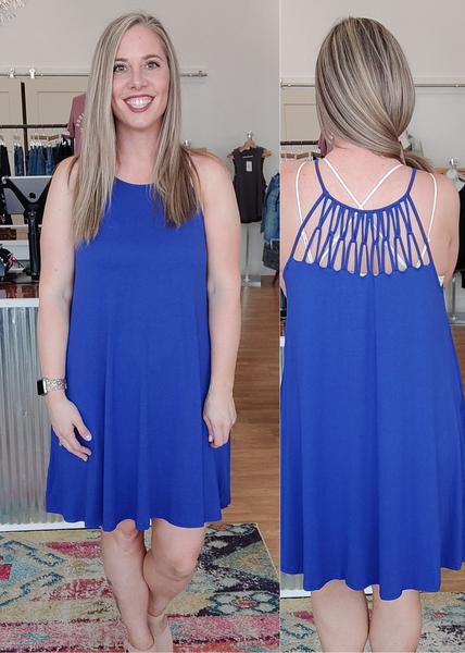 Cobalt Strappy Back Dress