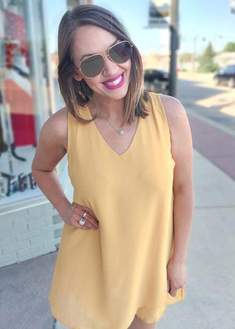 Golden Sunrise V-Neck Dress