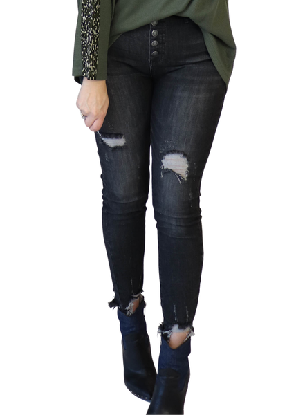 Paul Distressed Black Button Fly Skinny
