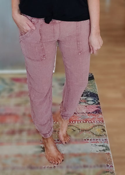 Linen Mineral Washed Joggers - Sangria