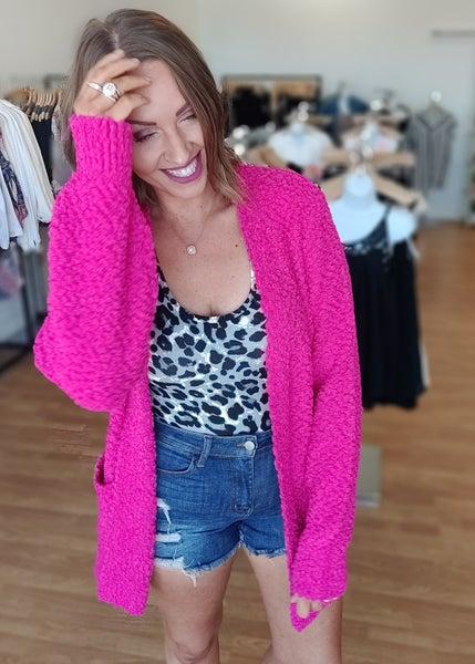 Popcorn Sweater-Bright Pink