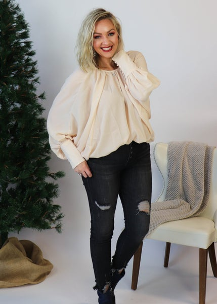 Butterfly Sleeved Blouse: Cream *Final Sale*