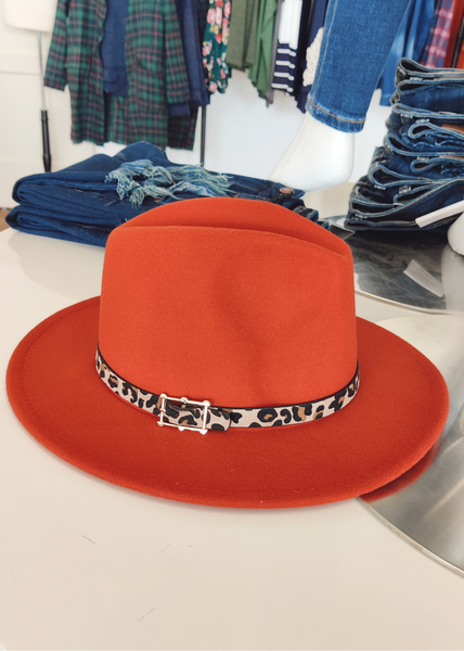 Rust Flat Brim Hat With Buckle *Final Sale*