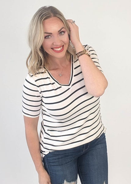 Best Stripe Tee - Ivory & Black