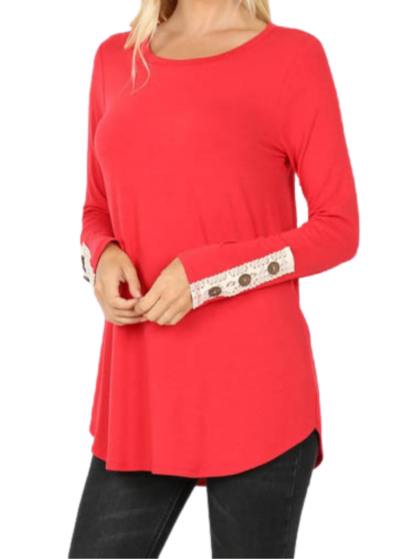 DOORBUSTER- Holiday Red Button Top *Final Sale*