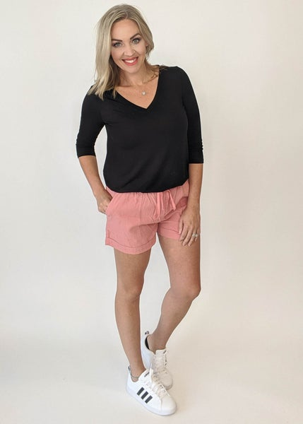 Dusty Pink Drawstring Shorts - DOORBUSTER *Final Sale*