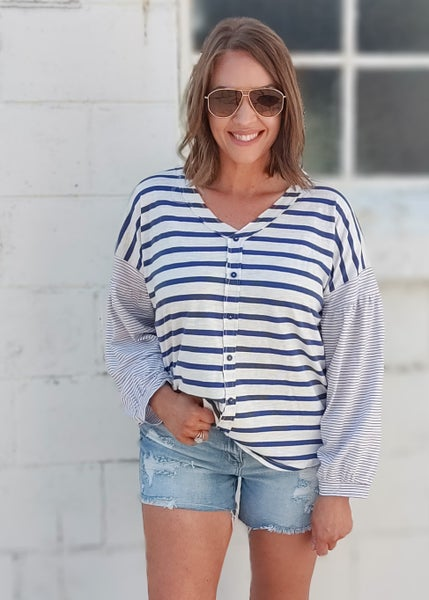 Relaxing Striped Sleeve Top