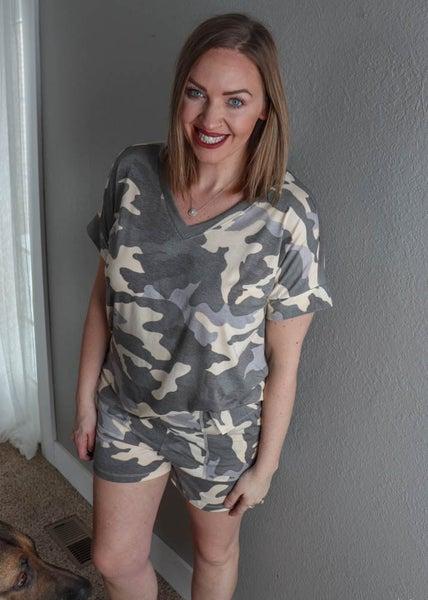 Camo V-Neck Top & Shorts Set