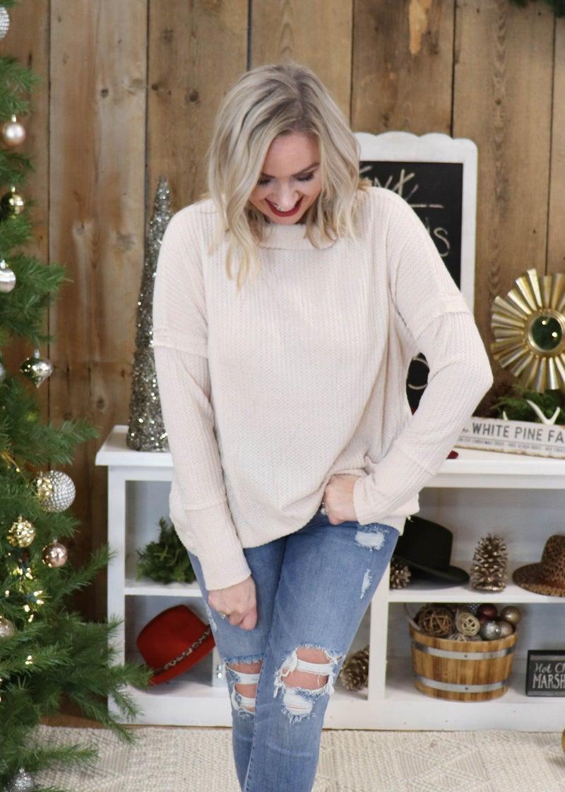 DOORBUSTER -Brianna Natural Mock Neck Sweater *Final Sale*
