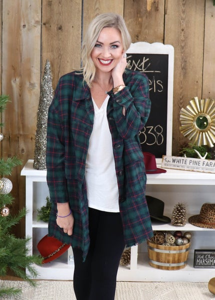 Plaid Long Sleeved Button down: Hunter Green