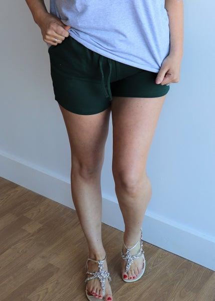 Drawstring Waist Shorts-Hunter
