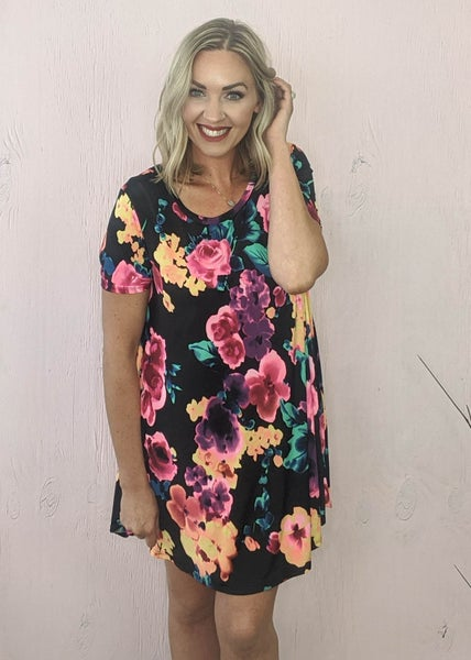 Taylor Neon Floral Black Dress *Final Sale*